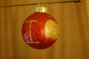 BBC Sherlock IOU diy glitter christmas ornament