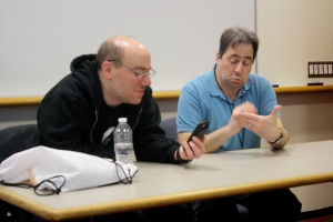 Voice actors Bill Rogers (left) and Mike Pollock (right)