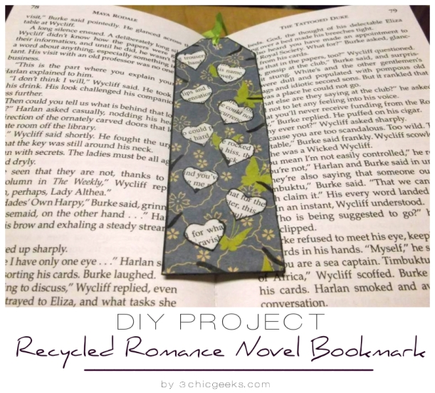 DIY Project: Recycled Romance Novel Bookmark tutorial