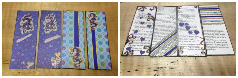 DIY romance novel bookmarks made from scrap paper and book pages